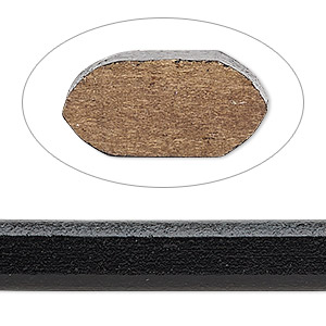 cord, ellada leather™, greek leather (dyed), black, 10x5mm oval. sold per pkg of 1 yard.