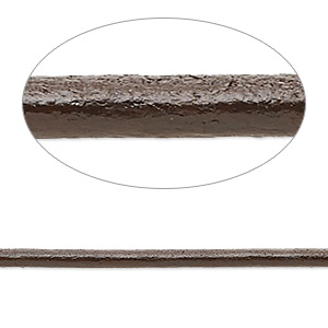 cord, ellada leather™, greek leather (dyed), dark brown, 2.5mm round. sold per pkg of 3 yards.