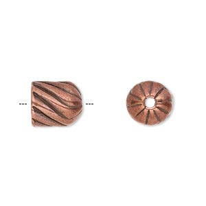 cord end, antique copper-plated pewter (tin-based alloy), 10.5x10mm corrugated twisted round tube, 7.5mm inside diameter. sold individually.