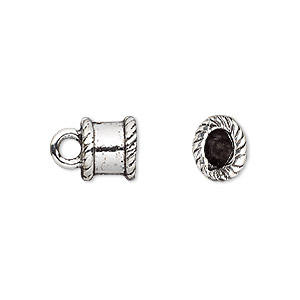 cord end, antique silver-plated pewter (tin-based alloy), 9x8mm oval, 5x4mm inside diameter. sold per pkg of 2.