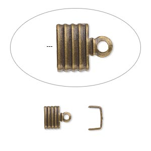 cord end, fold-over, antique gold-plated brass, 6.5x4.5mm corrugated u-shape, 6mm inside diameter. sold per pkg of 100.