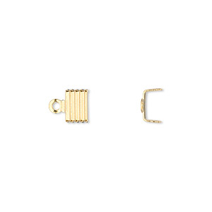 cord end, fold-over, gold-plated brass, 6.5x4.5mm corrugated u-shape, 6mm inside diameter. sold per pkg of 500.