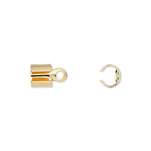 cord end, fold-over, gold-plated steel, 7x6mm, 5.5mm inside diameter. sold per pkg of 100.