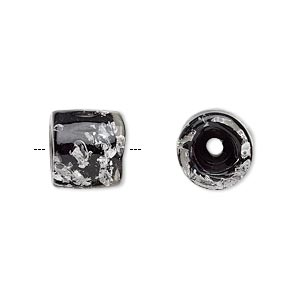 cord end, glass, opaque black with silver-colored foil, 11x11mm with confetti pattern, 5mm inside diameter. sold per pkg of 2.