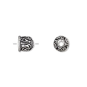 cord end, glue-in, antique silver-plated brass, 8x7mm round with line design, 4.5mm inside diameter. sold per pkg of 6.
