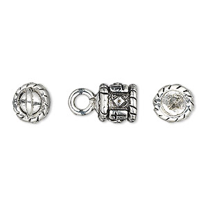 cord end, glue-in, antique silver-plated pewter (tin-based alloy), 8x8mm barrel with cross and diamond design, 5mm inside diameter. sold per pkg of 2.