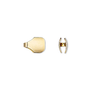 cord end, glue-in, gold-finished brass, 11x8mm with 7x3.5mm inside diameter. sold per pkg of 6.
