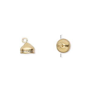 cord end, glue-in, gold-plated brass, 7x6mm with 6mm inside diameter. sold per pkg of 100.