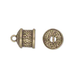 cord end, glue-in, jbb findings, antiqued brass, 11x11mm textured round tube, 9mm inside diameter. sold per pkg of 2.