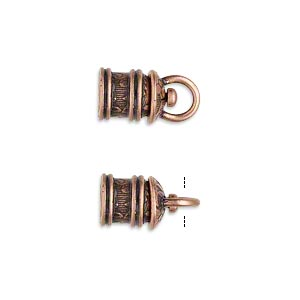 cord end, jbb findings, antique copper-plated brass, 11.5x8mm tube with swivel and flower and leaves design, 5mm inside diameter. sold per pkg of 2.