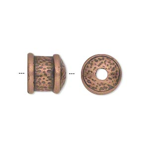 cord end, jbb findings, antique copper-plated pewter (tin-based alloy), 11x11mm textured round tube, 9mm inside diameter. sold per pkg of 2.