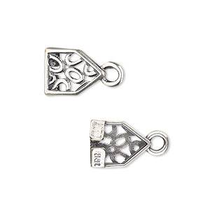 cord end, jbb findings, antique silver-plated brass, 12.5x10mm pentagon with open oval design and loop, 8x1.5mm inside diameter. sold per pkg of 2.