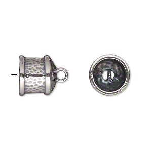 cord end, jbb findings, antiqued sterling silver, 11.5x11mm hammered round tube, 9mm inside diameter. sold per pkg of 2.