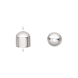 cord end, silver-plated brass, 8x8mm with 7mm inside diameter. sold per pkg of 10.