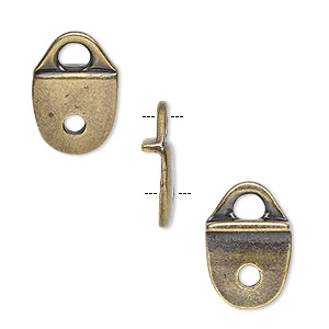 cord end, tierracast, glue-on / rivet, antique brass-plated pewter (tin-based alloy), 17x11.5mm with 11x10mm flat pad and 2.5mm hole. sold per pkg of 2.
