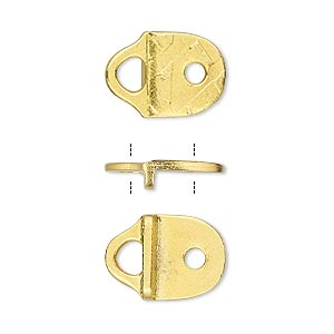 cord end, tierracast, glue-on / rivet, gold-plated pewter (tin-based alloy), 16x11.5mm textured with 11x9mm flat pad and 2.5mm hole. sold per pkg of 2.