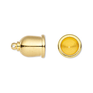 cord end, tierracast makers collection, glue-in, gold-plated brass, 16x11.5mm taj, 8mm inside diameter. sold per pkg of 2.