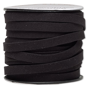 cord, faux suede, black, 10mm flat. sold per 25-yard spool.