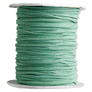 cord, faux suede lace, green, 3mm. sold per 100-yard spool.
