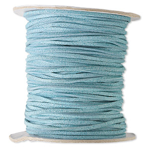 cord, faux suede lace, turquoise blue, 3mm. sold per 100-yard spool.
