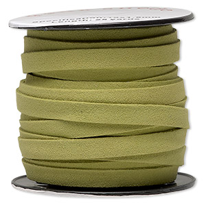 cord, faux suede, lime green, 10mm flat. sold per pkg of 3 yards.
