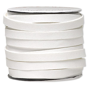 cord, faux suede, white, 10mm flat. sold per 25-yard spool.