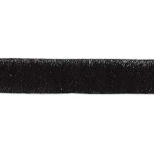 cord, hair-on leather, black, 10mm single-sided flat. sold per pkg of 1 yard.
