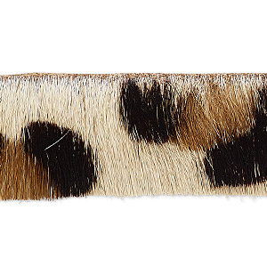 cord, hair-on leather, brown / dark brown / natural, 20mm single-sided flat with cheetah pattern. sold per pkg of 1 yard.