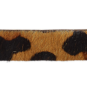 cord, hair-on leather, brown and dark brown, 16mm single-sided flat with leopard pattern. sold per pkg of 1 yard.
