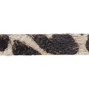 cord, hair-on leather, dark brown and tan, 10mm single-sided flat with giraffe pattern. sold per pkg of 1 yard.