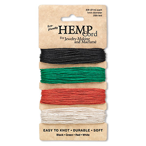 cord, hemptique, hemp, assorted colors, 1mm diameter, 20-pound test. sold per pkg of (4) 30-foot sections.