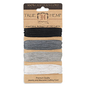 cord, hemptique, hemp, onyx shades, 1mm diameter, 20-pound test. sold per pkg of (4) 30-foot sections.