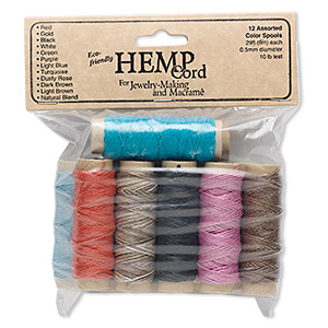 cord, hemptique, natural hemp, multicolored, 0.5mm diameter. sold per pkg of (12) 29-foot spools.
