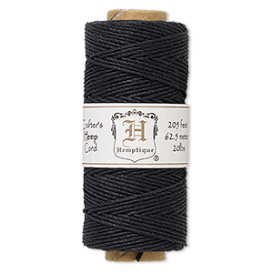 cord, hemptique, polished hemp, black, 1mm diameter, 20-pound test. sold per pkg of 205 feet.