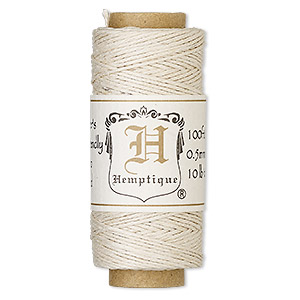 cord, hemptique, polished hemp, natural, 0.5mm diameter, 10-pound test. sold per 100-foot spool.