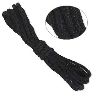 cord, hemptique, unpolished hemp, black, 3mm rounded braid. sold per pkg of 2 meters.
