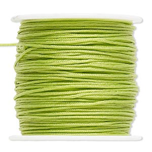cord, imitation silk, light green, 1mm. sold per 100-foot spool.