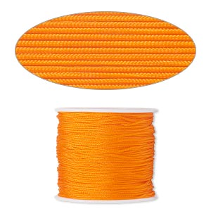 cord, imitation silk, orange, 1mm. sold per 100-foot spool.