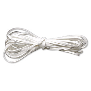 cord, imitation suede lace, white, 3mm. sold per pkg of 5 yards.