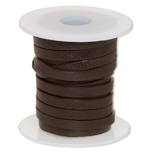 cord, leather, brown, 4mm flat. sold per 5-yard spool.