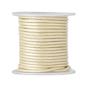 cord, leather (coated), metallic beige, 1.4-1.6mm round. sold per 5-yard spool.