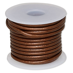 cord, leather (coated), metallic copper, 2mm. sold per 5-yard spool.