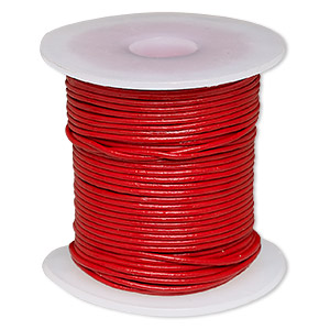 cord, leather (coated), red, 0.5-0.8mm. sold per 25-yard spool.