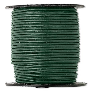 cord, leather (dyed), dark green, 1-1.2mm round. sold per 25-yard spool.