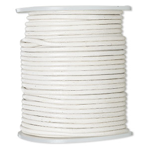 cord, leather (dyed), off-white, 2mm round. sold per 25-yard spool.