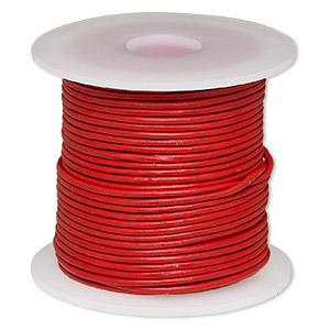 cord, leather (dyed), red, 1-1.2mm round. sold per 25-yard spool.