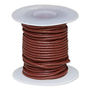 cord, leather (dyed), rose, 1-1.2mm round. sold per 5-yard spool.