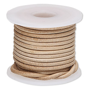 cord, leather, natural, 2mm round. sold per 5-yard spool.