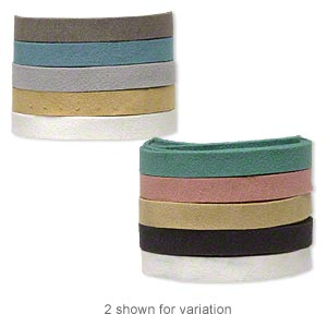 cord mix, faux suede, mixed colors, 10mm flat. sold per pkg of (5) 1-yard lengths.