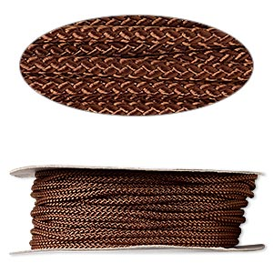 cord, nylon, brown, 3mm round. sold per 100-foot spool.